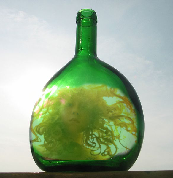 Self Portrait as Mermaid in Green Bottle by Isabelle, adapted from photograph by Prince Grobhelm, Wikipedia