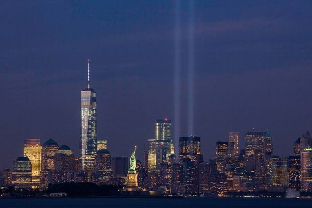 September 11th Tribute in Light from Bayonne, New Jersey. 11 September 2014 - by Anthony Quintan